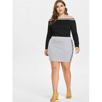 Plus Size Off Shoulder Tee and Skirt - BLACK 2X