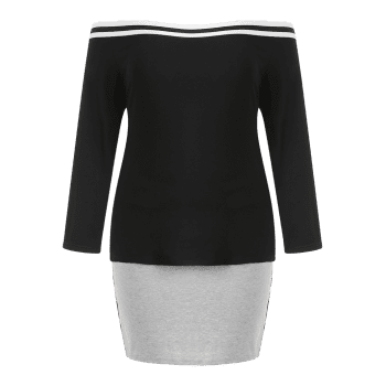 Plus Size Off Shoulder Tee and Skirt - BLACK 4X