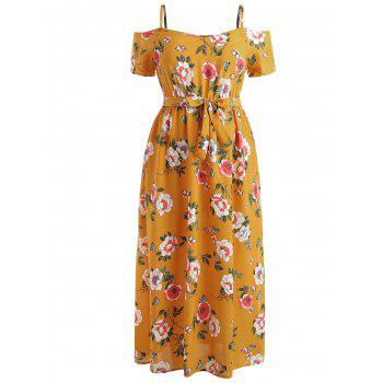 Plus Size Cold Shoulder Flower Maxi Dress - BEE YELLOW 3X