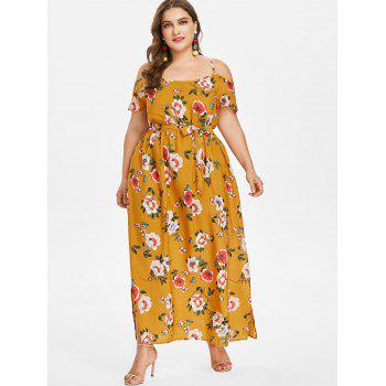 Plus Size Cold Shoulder Flower Maxi Dress - BEE YELLOW 4X