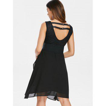 V Neck Faux Wrap Dress with Waistband - BLACK S