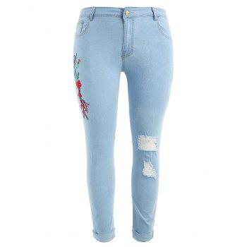 Plus Size Light Wash Embroidered Jeans - LIGHT BLUE 1X