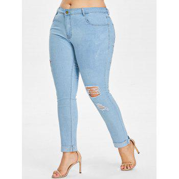 Plus Size Light Wash Embroidered Jeans - LIGHT BLUE 3X