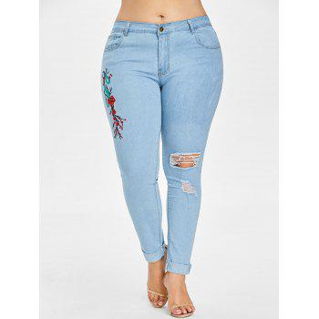 Plus Size Light Wash Embroidered Jeans - LIGHT BLUE 5X