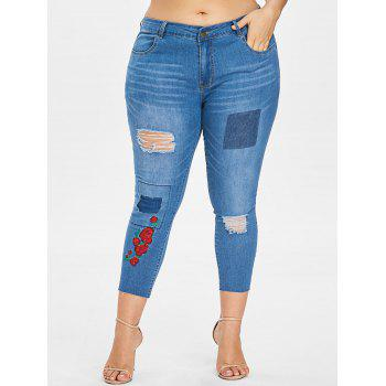 Plus Size Embroidered Ripped Cropped Jeans - DENIM BLUE 2X