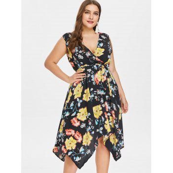 Plus Size Sleeveless Handkerchief Floral Dress - BLACK 3X