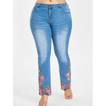 Plus Size Embroidered Hem Jeans - JEANS BLUE 1X