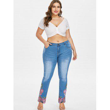 Plus Size Embroidered Hem Jeans - JEANS BLUE 2X
