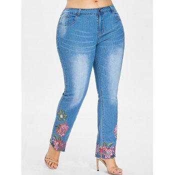 Plus Size Embroidered Hem Jeans - JEANS BLUE 3X