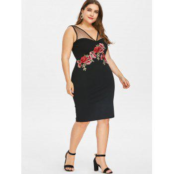 Plus Size Embroidered Bodycon Dress - BLACK 3X