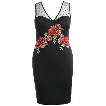 Plus Size Embroidered Bodycon Dress - BLACK L