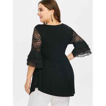 Plus Size Flare Sleeve Lace Insert Peplum Blouse - BLACK L