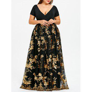 Plus Size Sparkly Sequined Floral Maxi Formal Dress