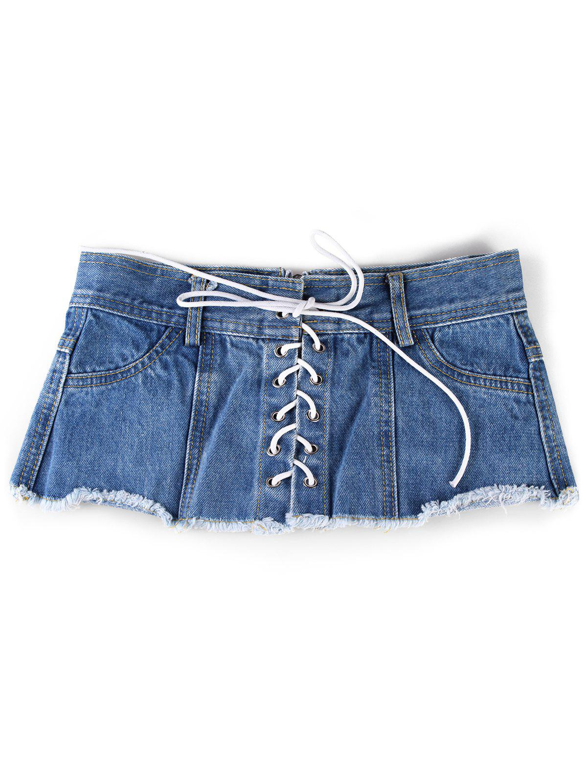Denim Shorts Dress Blouse Waist Belt - BLUE