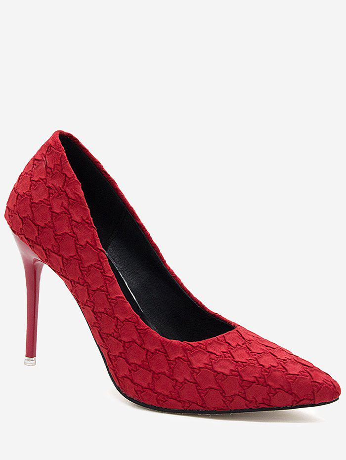 Pointed Toe High Heel Embossing Prom Pumps - FIRE ENGINE RED 35