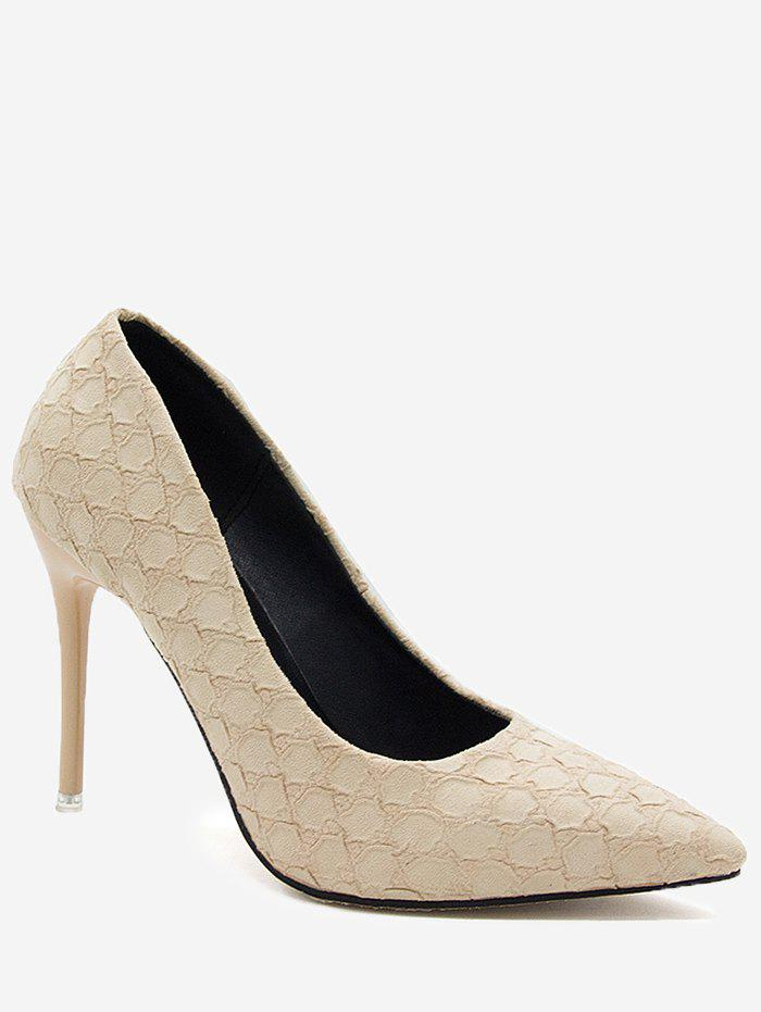 Pointed Toe High Heel Embossing Prom Pumps - BEIGE 39