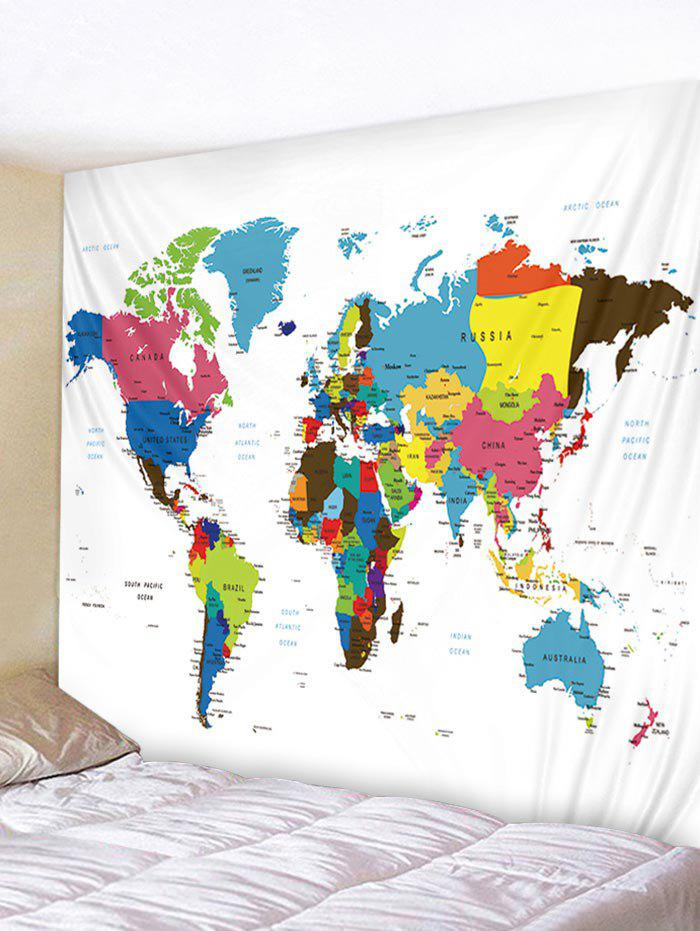 Colorful World Map Print Tapestry Wall Art - multicolor W79 INCH * L71 INCH