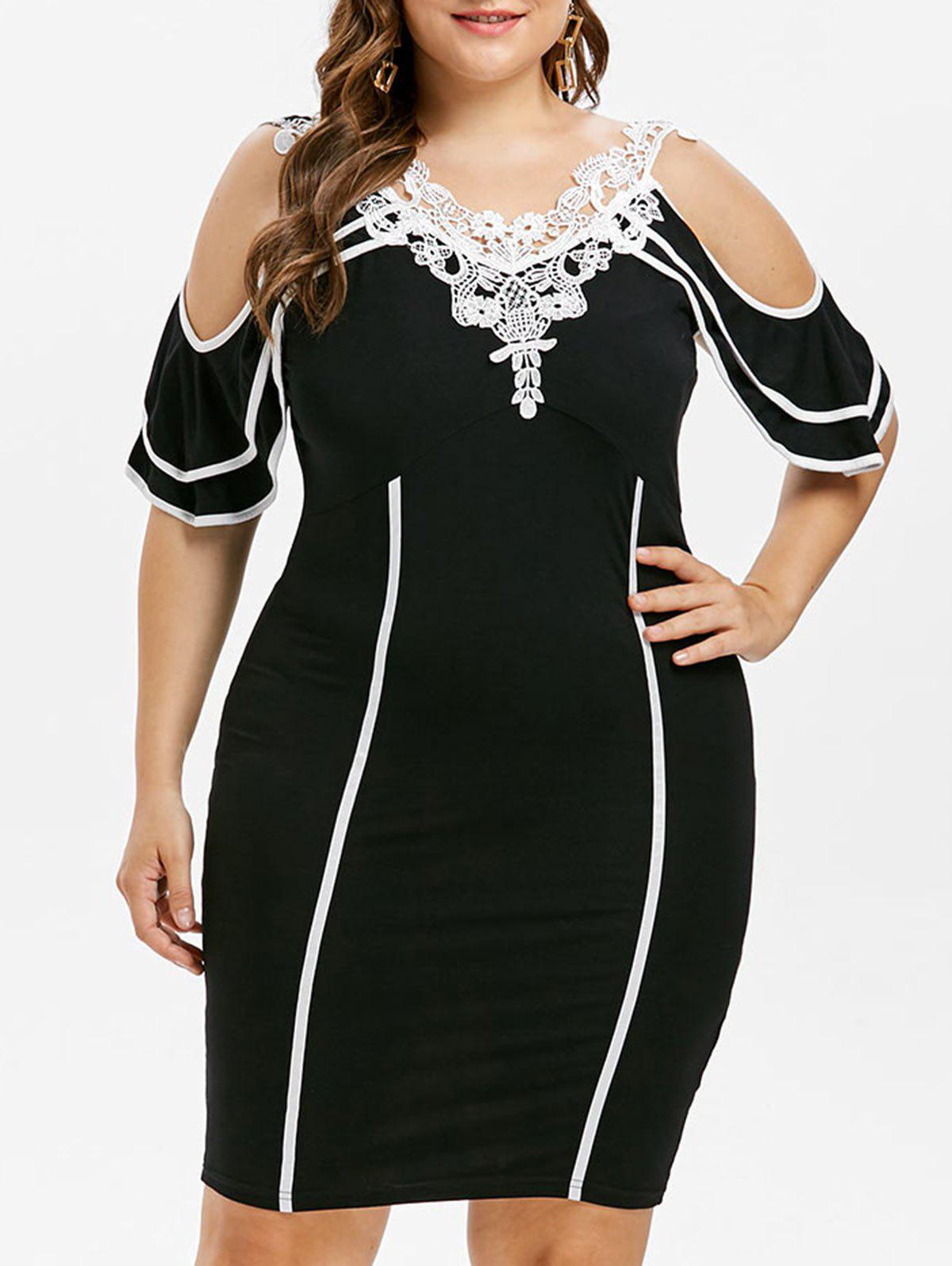 Plus Size Lace Trim Open Shoulder Dress - BLACK 3X