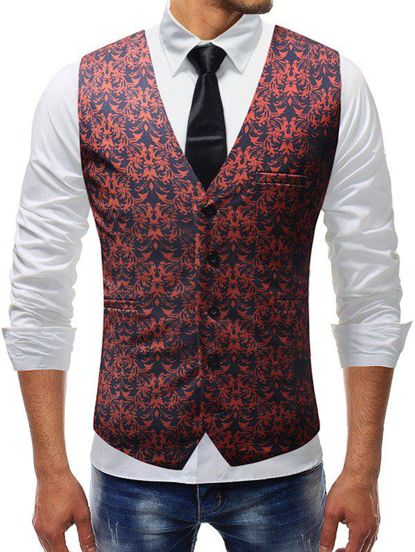 Adjustable Back Buckle Shivering Flower Print Vest - RED 2XL