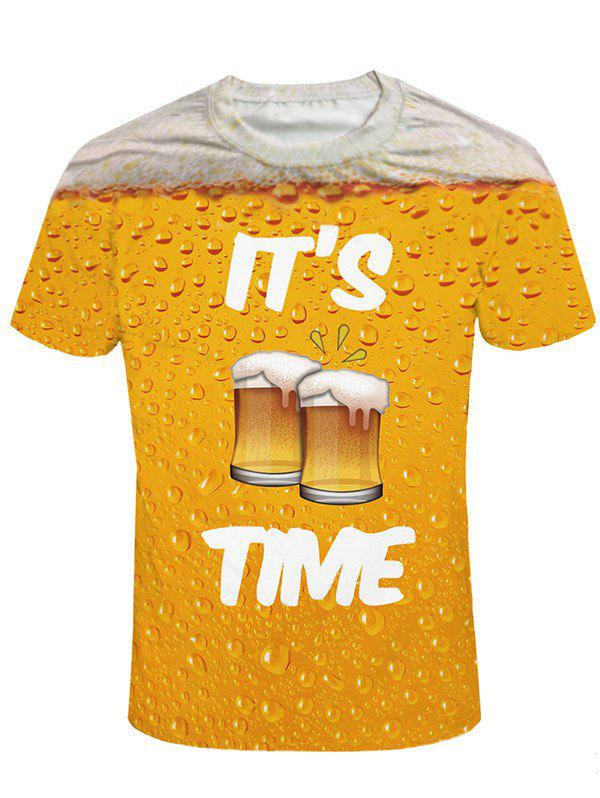 Short Sleeve Beer Print Graphic Tee - ORANGE GOLD 2XL