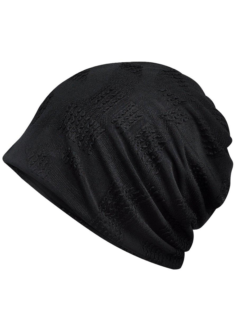 Vintage Solid Color Breathable Beanie Hat - BLACK