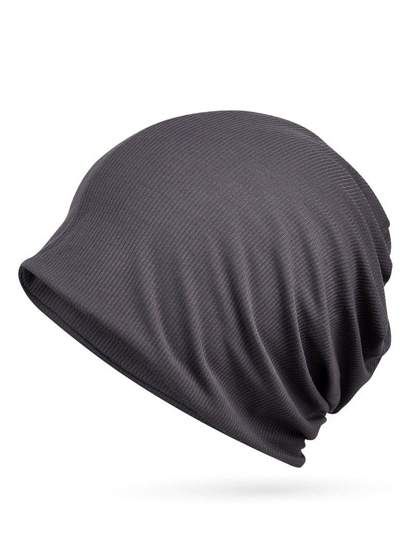 Outdoor Striped Pattern Open Top Beanie - GRAY WOLF