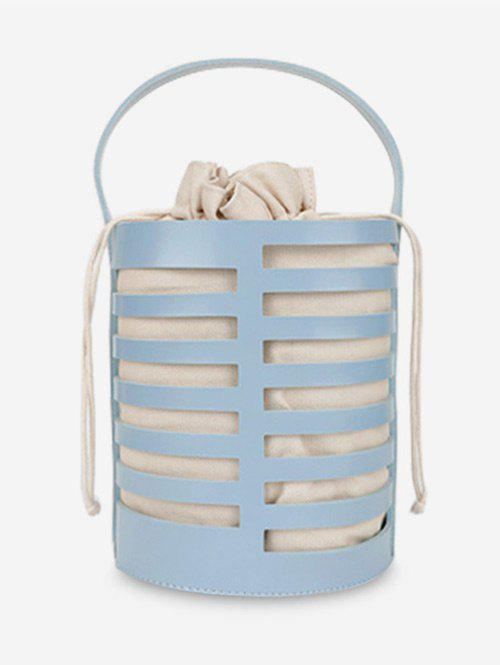 Minimalist Bucket Shaped Hollow Out Handbag - BLUE
