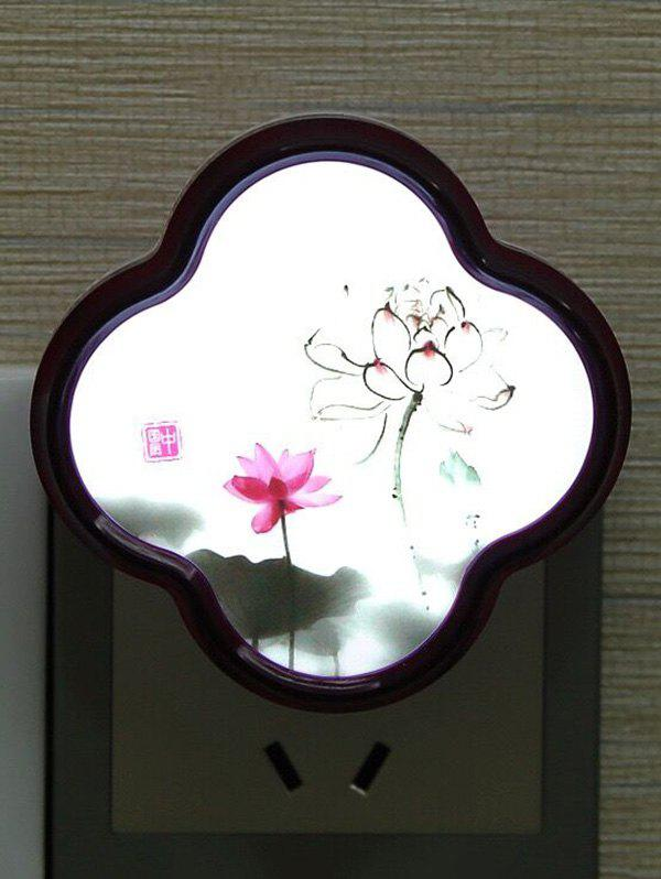 LED Optical Controller Chinese Flower Pattern Night Lamp - PINK