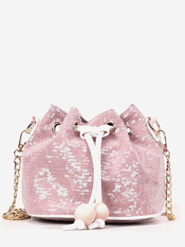 Sequins Buckets Chic Metallic Chain Crossbody Bag - PINK