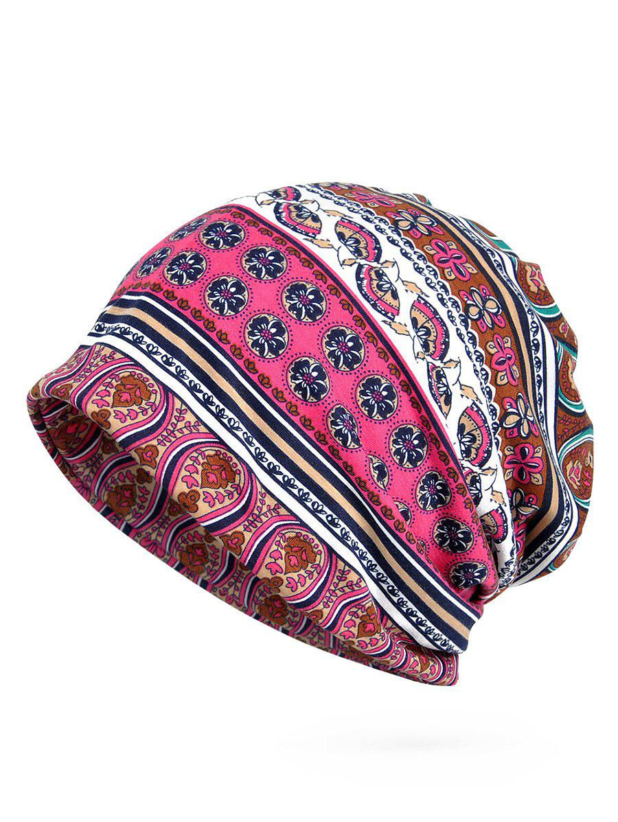 Lightweight Floral Pattern Open Two Beanie - LOVE RED