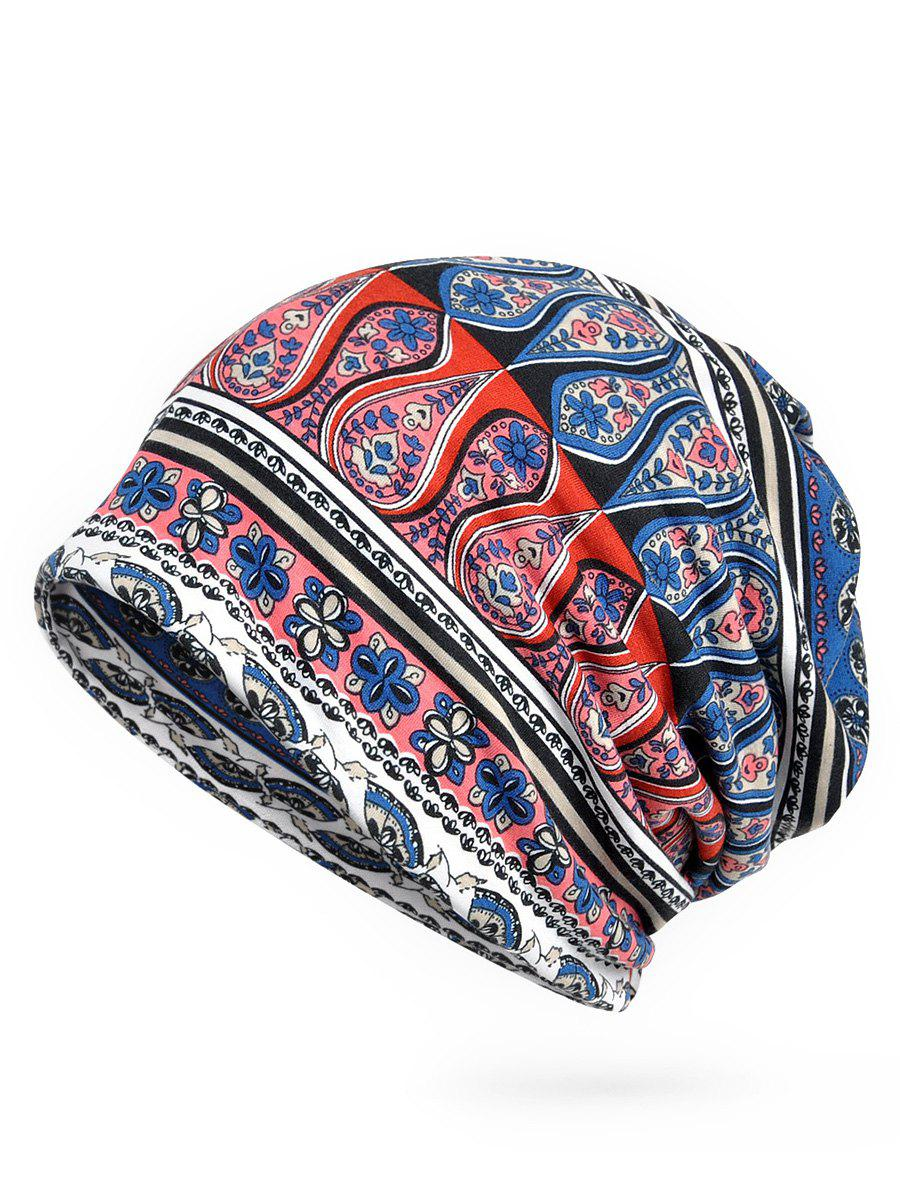 Lightweight Floral Pattern Open Two Beanie - BLUE