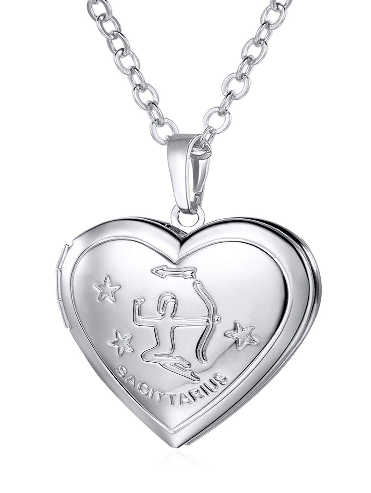 Unique Carved Heart Shaped Box Pendant Necklace - SILVER