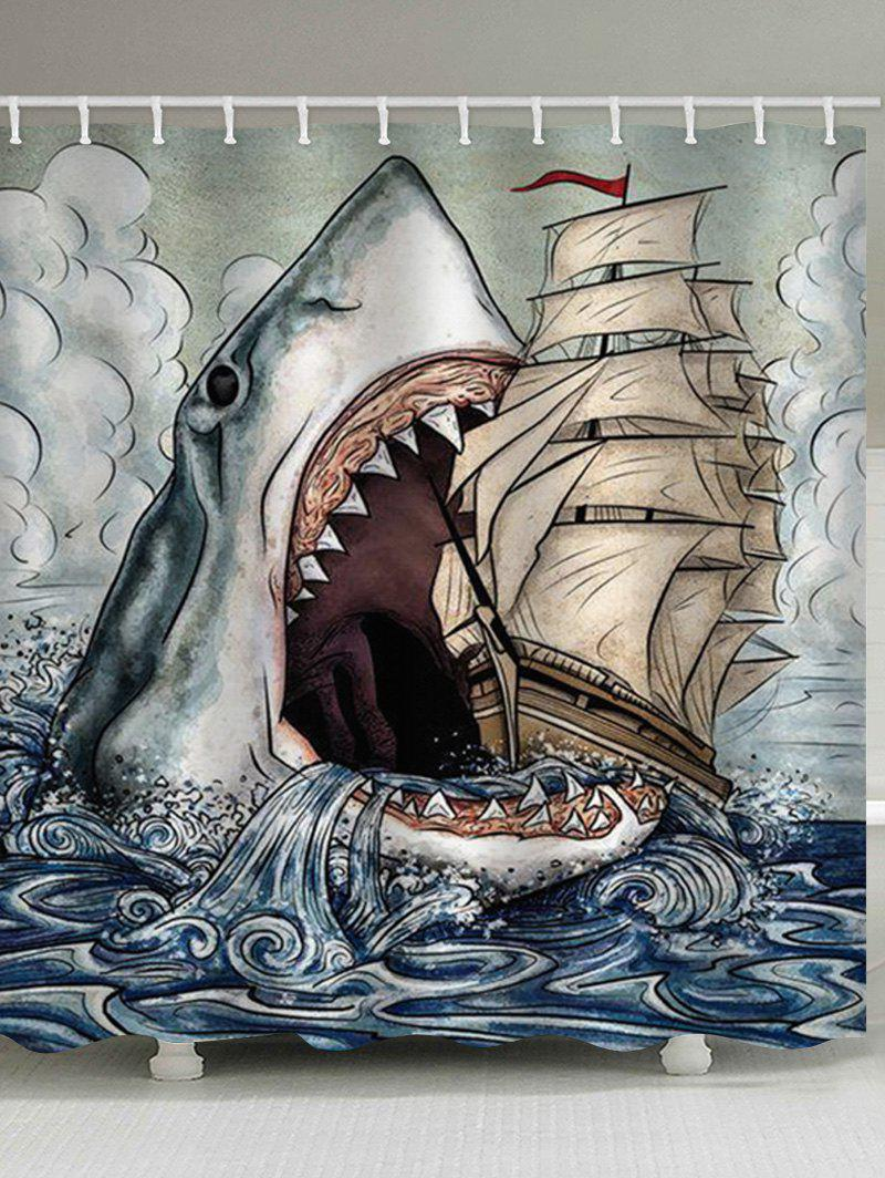 Shark Eat Ship Print Waterproof Shower Curtain - multicolor W71 INCH * L71 INCH