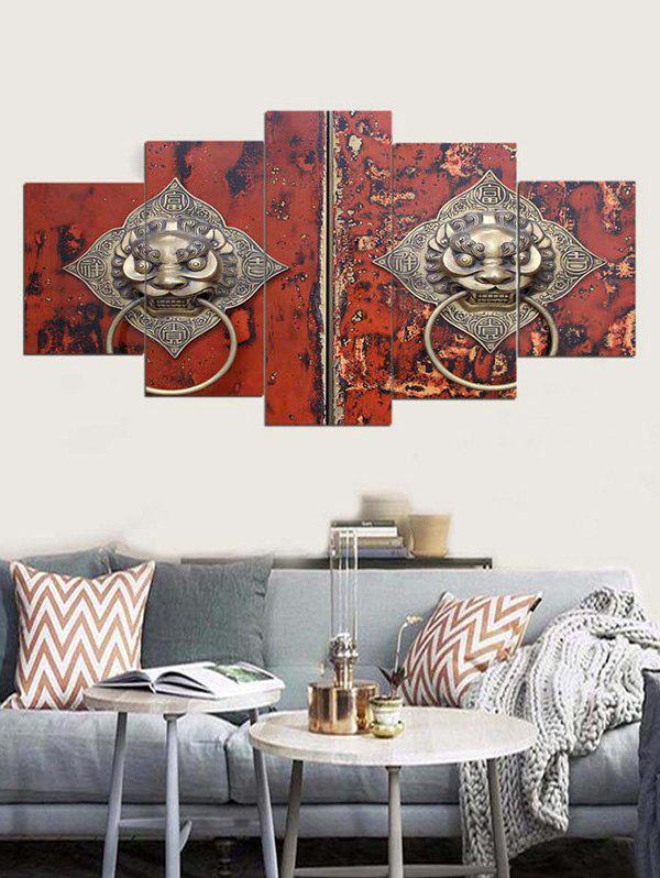 Lion Door Knocker Print Unframed Canvas Paintings - multicolor 1PC:8*20,2PCS:8*12,2PCS:8*16 INCH( NO FRAME )