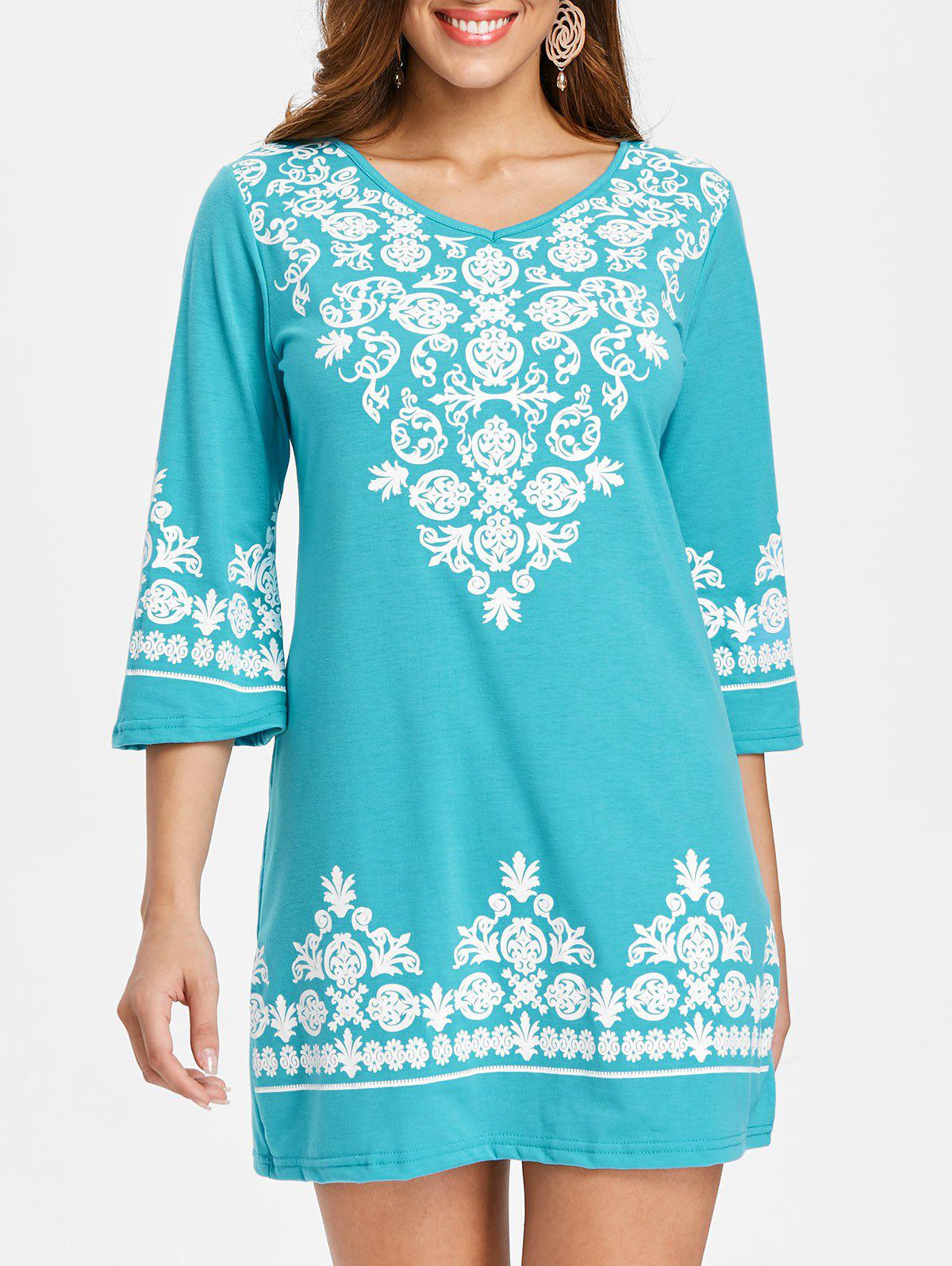 Ethnic Print Mini Dress - BLUE ZIRCON M