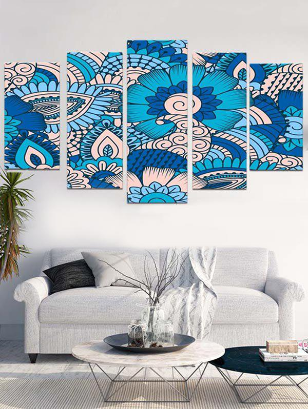 Abstract Flower Print Unframed Split Canvas Paintings - BUTTERFLY BLUE 1PC:12*31,2PCS:12*16,2PCS:12*24 INCH( NO FRAME )