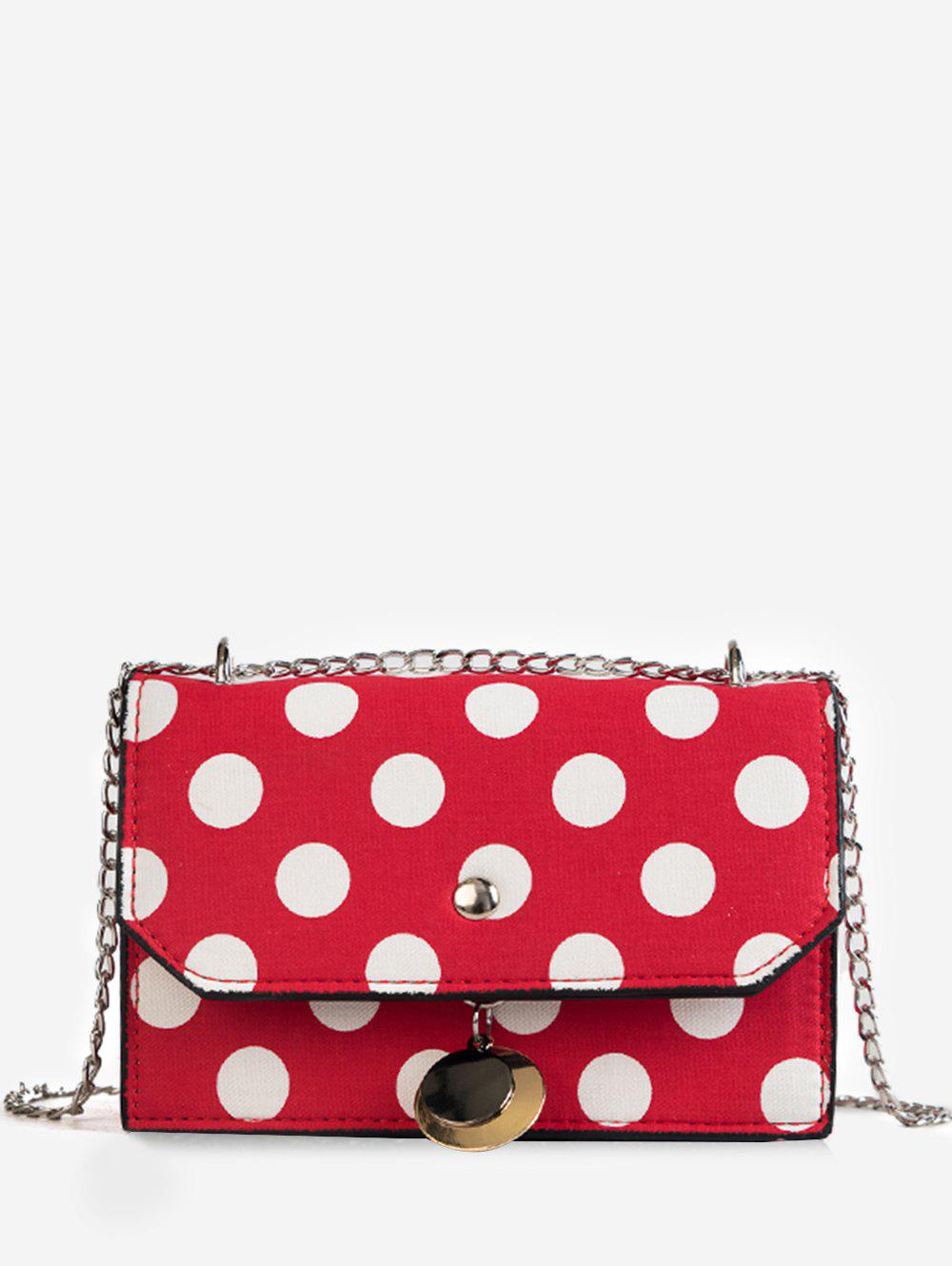 Polka Dot Flapped Metal Chain Crossbody Bag - RED