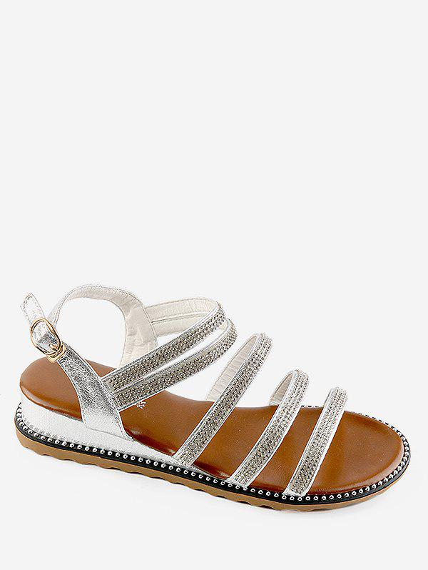 Crystals Studs Chic Low Heel Slingback Sandals - SILVER 38