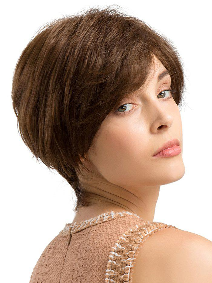 Inclined Fringe Capless Short Straight Human Hair Wig - BROWN