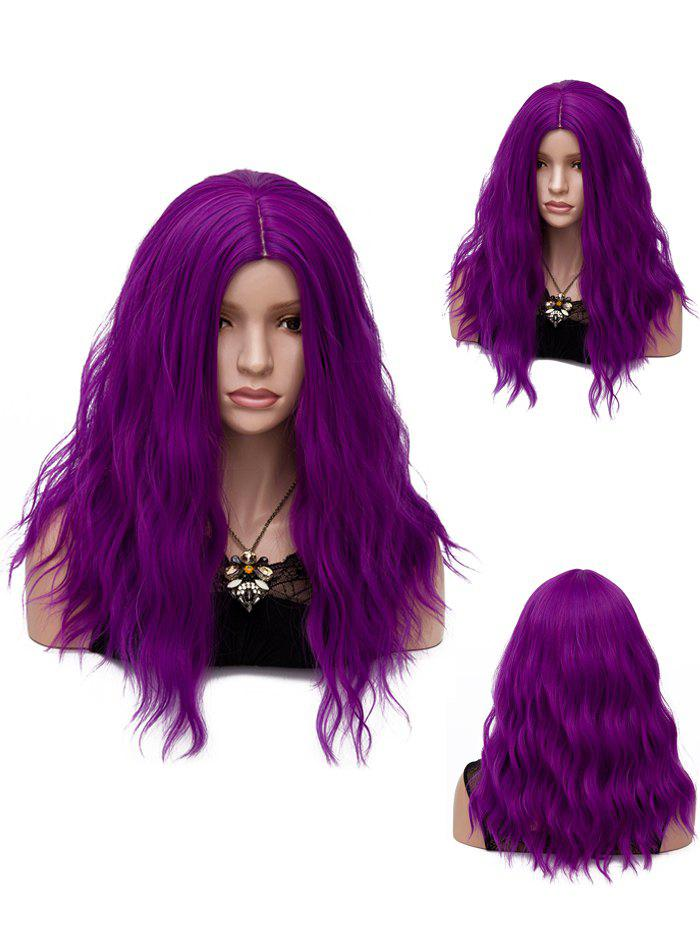 Center Parting Long Natural Wavy Party Synthetic Wig - PURPLE