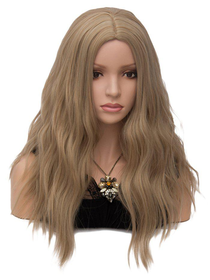 Middle Part Long Natural Wavy Party Heat Resistant Synthetic Wig - LIGHT BROWN