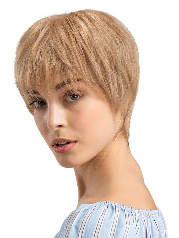 Short Neat Bang Capless Straight Human Hair Wig - GOLDENROD