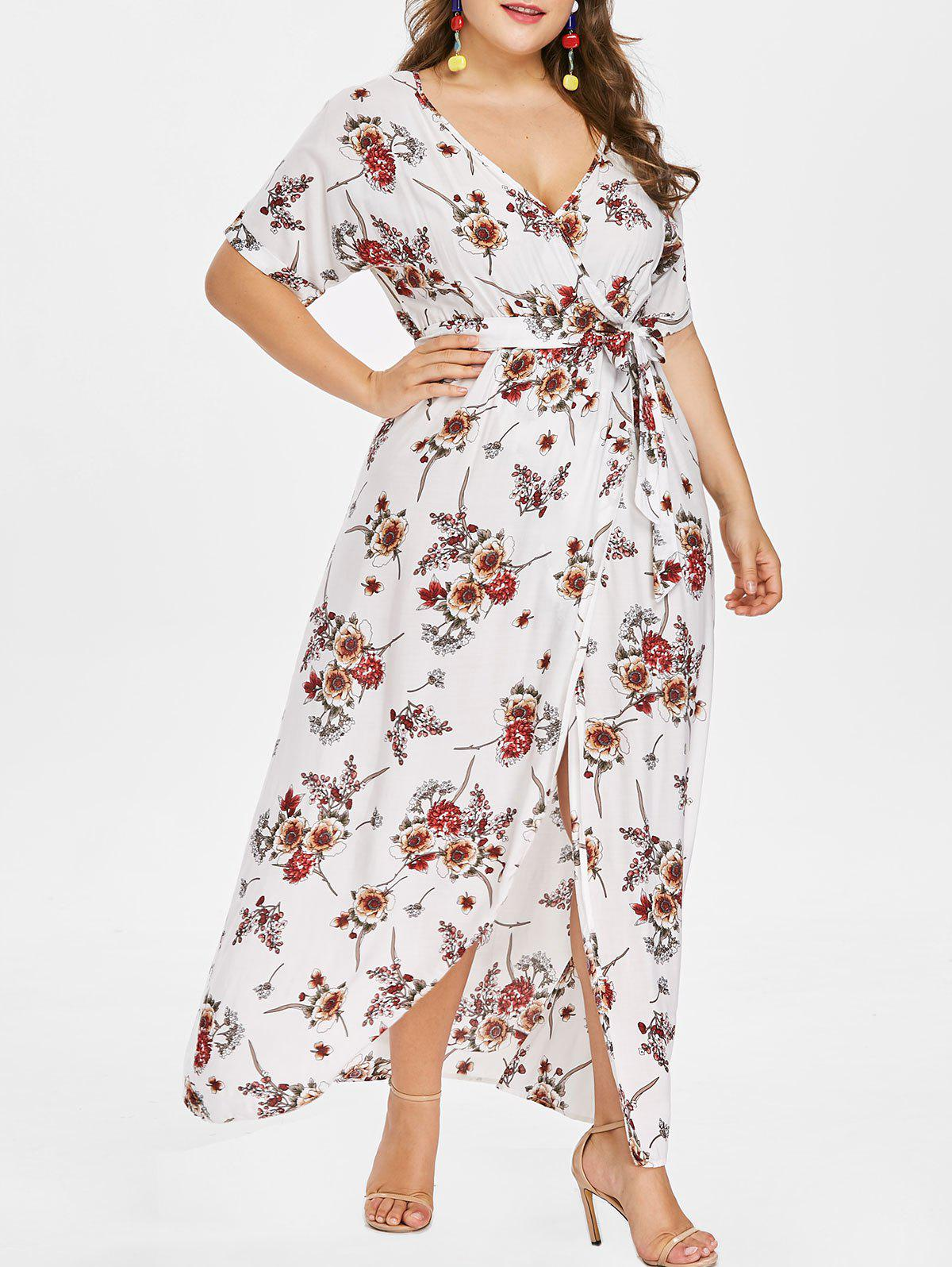 Plus Size Floor Length Dress with Belt - MILK WHITE 6X