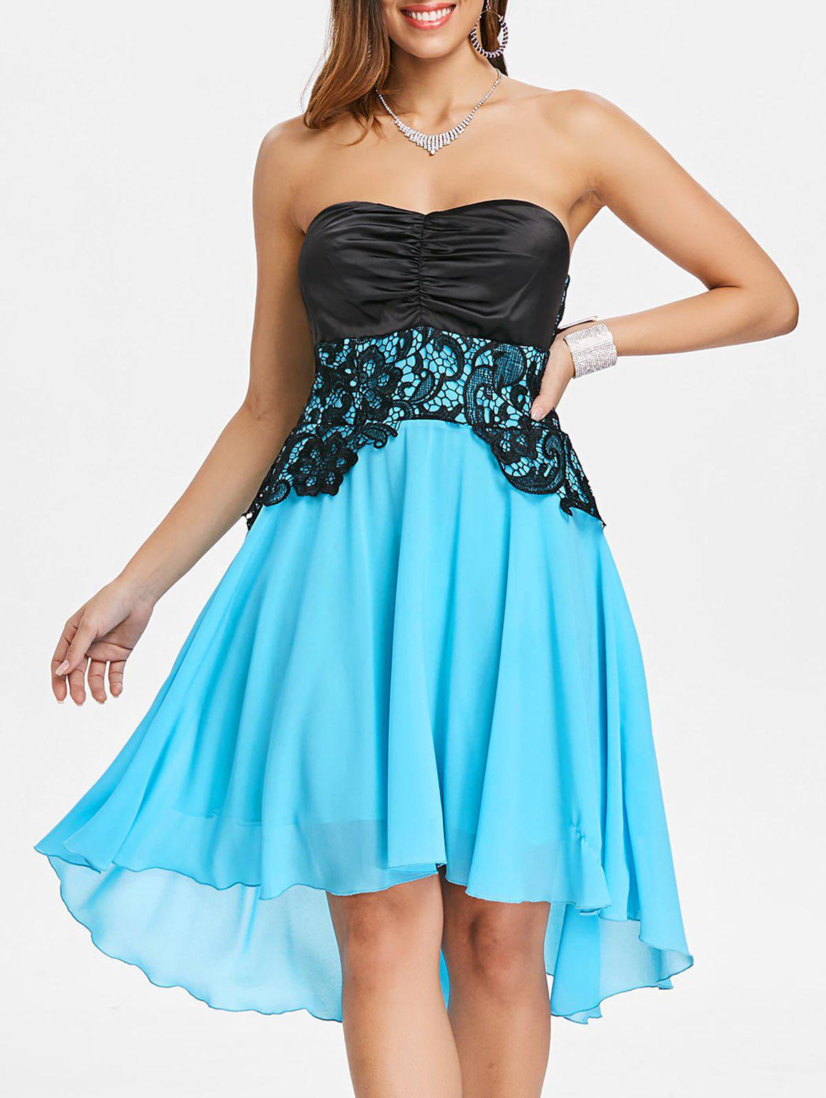Back Lace Up Strapless A Line Dress - LIGHT SKY BLUE XL