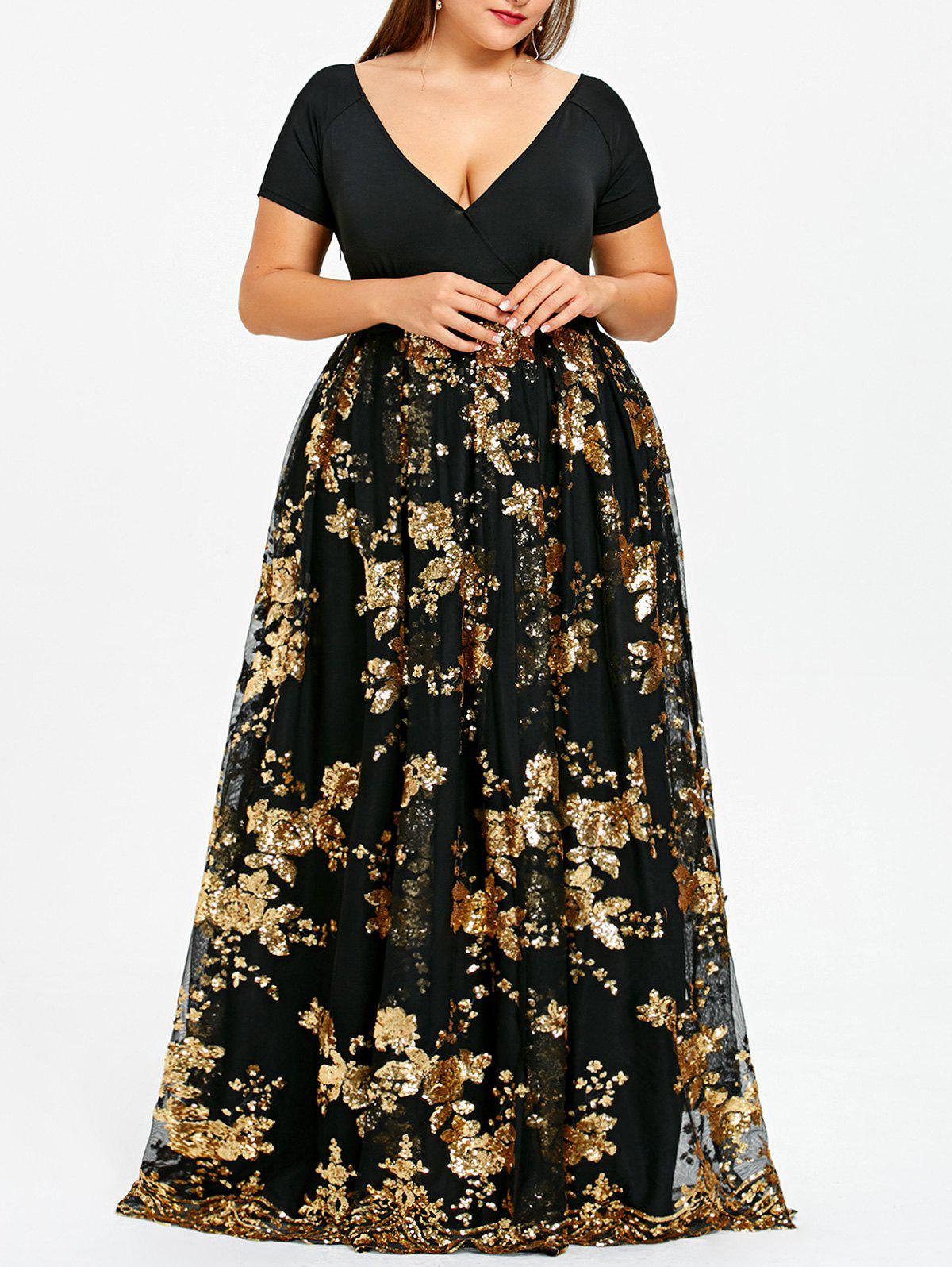 Plus Size Sparkly Sequined Floral Maxi Formal Dress - GOLD 4XL