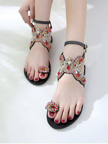 Dazzling Crystals Butterfly Pattern Ankle Strap Sandals