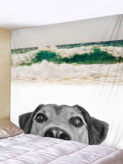 Beach Dog Print Tapestry Wall Art - multicolor W91 INCH * L71 INCH