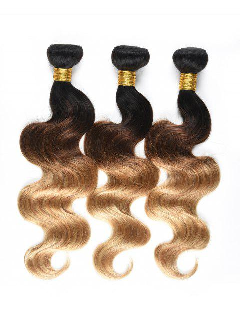 3Pcs Ombre Body Wave Indian Human Hair Wefts - multicolor 14INCH*14INCH*14INCH