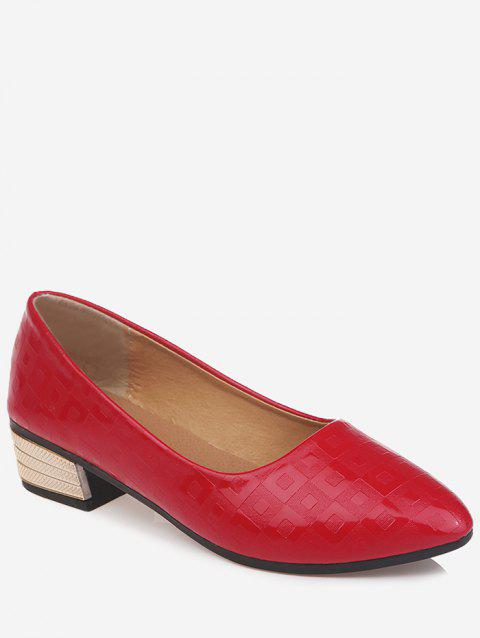 Chunky Heel Slip On Pointed Toe Leisure Pumps - FIRE ENGINE RED 36