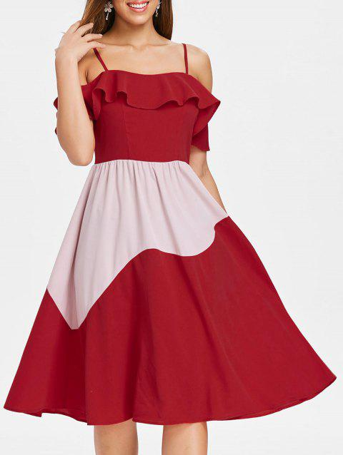 Two Tone Ruffle Cold Shoulder Midi Dress - RED S